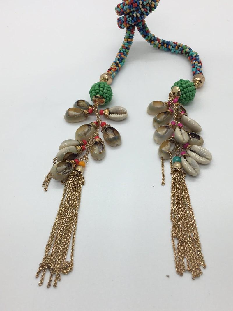 Multi Seed Bead Shell Tassle Necklace