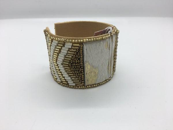 Crystal & Hide Gold Detailed Cuff Bracelet