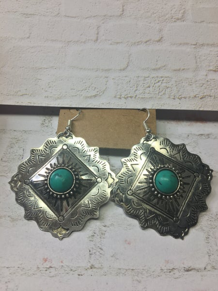 Handmade Turquoise Western Diamond Earrings