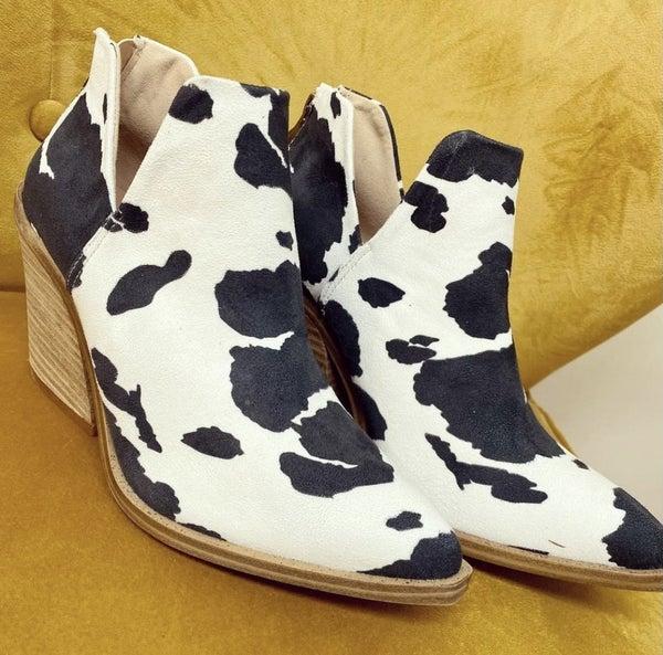 Cow Print Bootie
