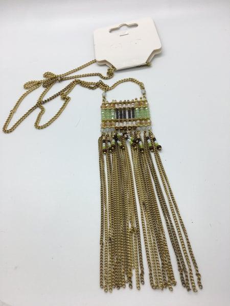 Multi Bead Tassel Necklace