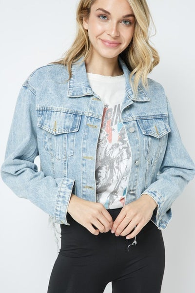 Blue B - Ripped Denim Cropped Jacket