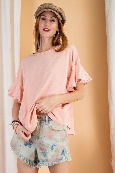 Easel - Mineral Wash Daily Outfit Boxy Top - 2 Colors