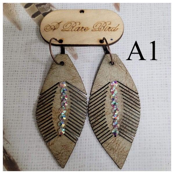 A Rare Bird - Leather Crystal Earrings