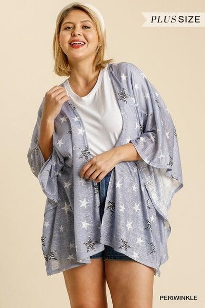 Umgee - Curvy Open Front Animal Star Print Kimono