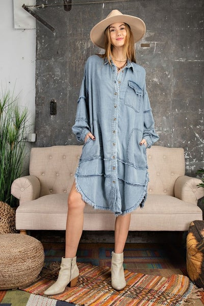 Easel - Denim Oversized Shirt dress