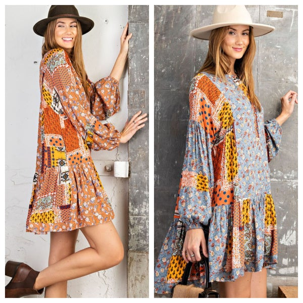 Easel - VINTAGE INSPIRED CHALLIE BUTTON DOWN WOVEN DRESS - 2 Colors