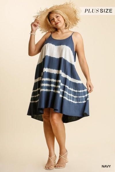 Umgee - Curvy Linen Blend Tie Dye Strapless Dress