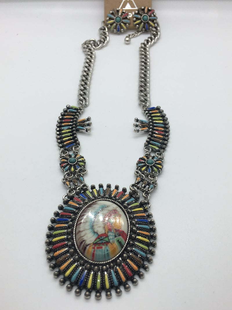 Western Indian Chief Necklace Set