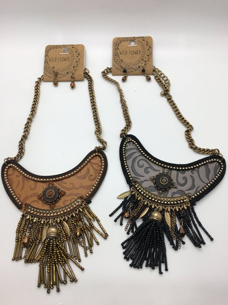 Beaded Tassel Statement Necklace - 2 Colors