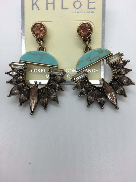 Crystal & Turquoise Post Earring