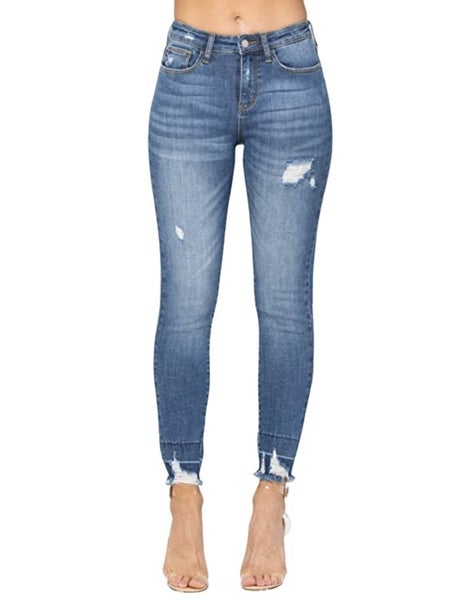 Judy Blue - Destroyed Hi Waist Release Hem Skinny Jeans - All Sizes