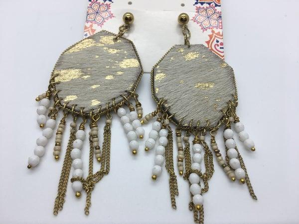 Leather Hide Gold Detail Bead Tassle Earring