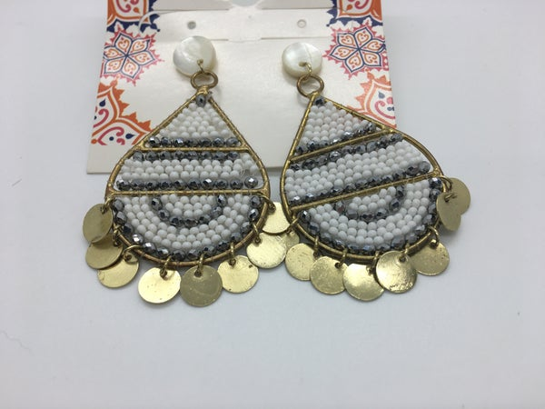 Beaded Gold Dangle Post Earring