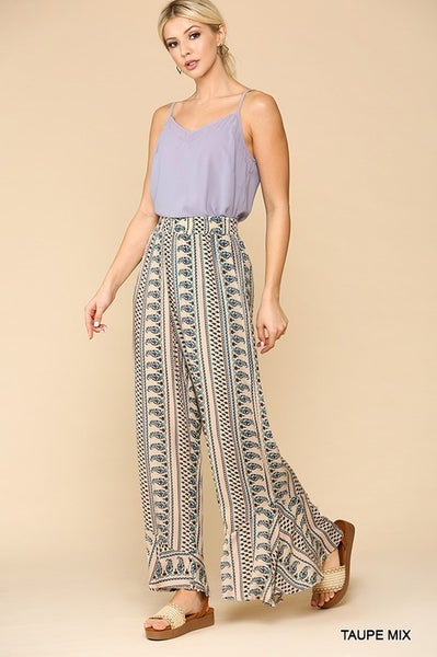 Gigio - Printed Wide Leg Ruffled Hem Pants