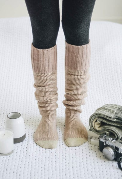 Open Work Two-Tone Lounge Socks - 2 Colors
