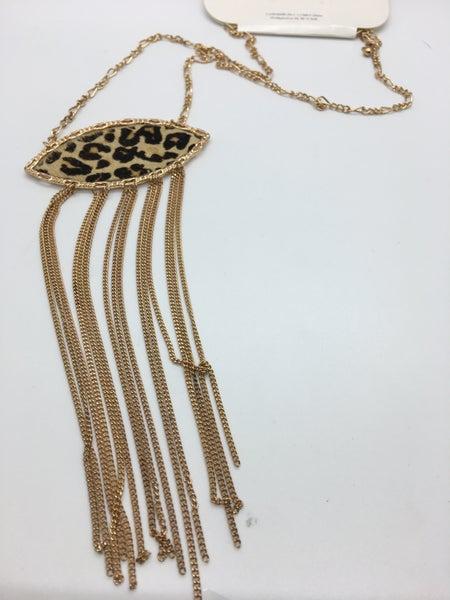 Leopard & Tassel Necklace