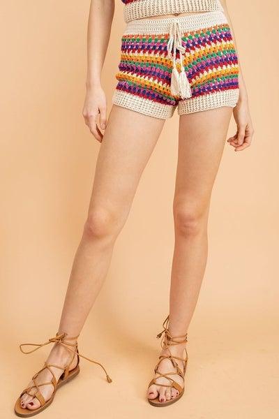 Le Lis - Striped Crochet Shorts