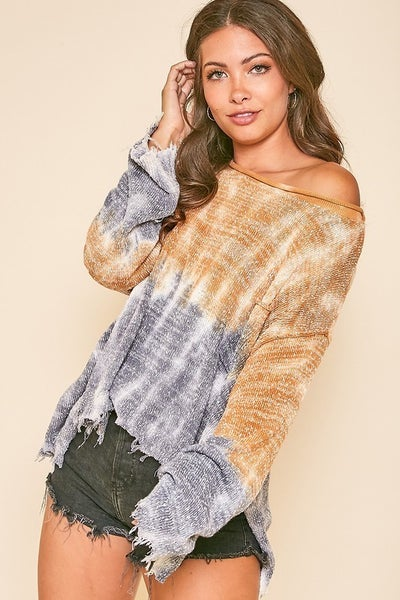 Peach Love California - Ombre Tie Dye Frayed Pocket Sweater