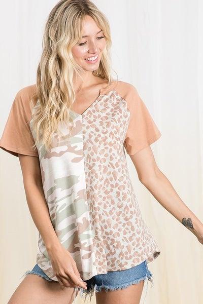 Ces Femme - Print Unmatched Color Block Raglan Top