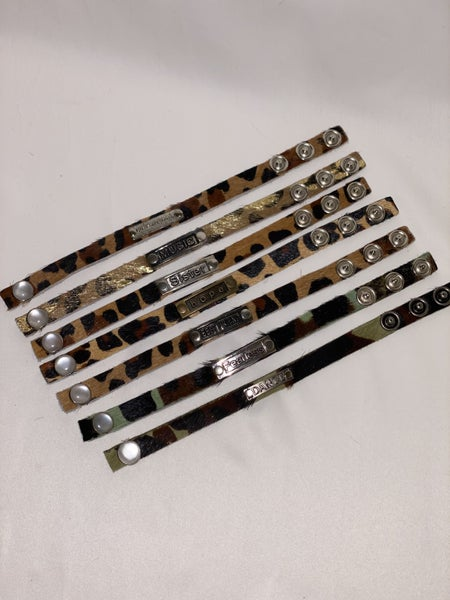 Leather Snap Bracelet With Metal Word Plate - 7 Styles