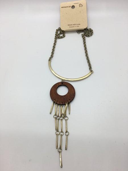 Gold & Wood Tassel Necklace