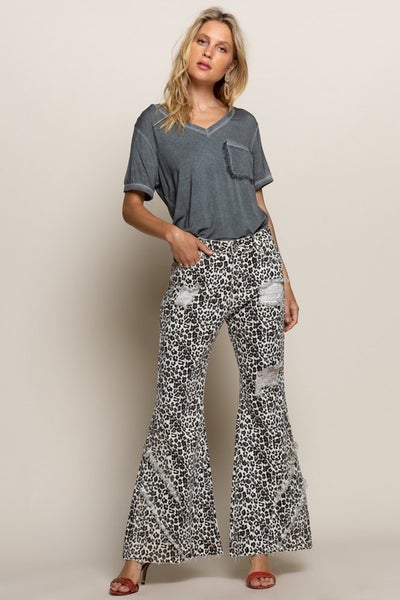 POL - Animal Printed Flare Jeans