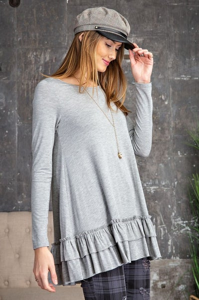 Easel - Long Sleeve Ruffle Tunic