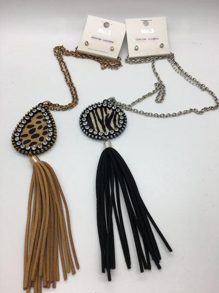 Suede Cord Tassel Animal PrintedHair-On Leather