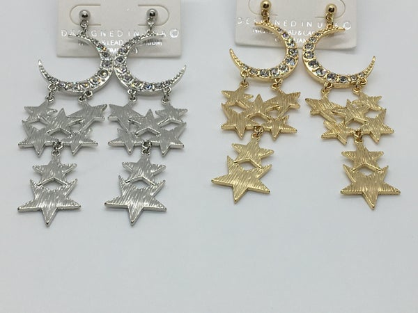 Crystal Moon & Star Earring - 2 Colors