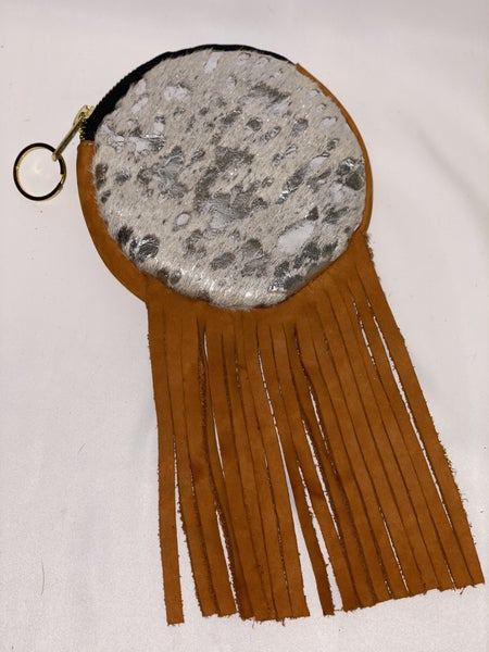 Leather Columbian Round Tassel Keyring Purse