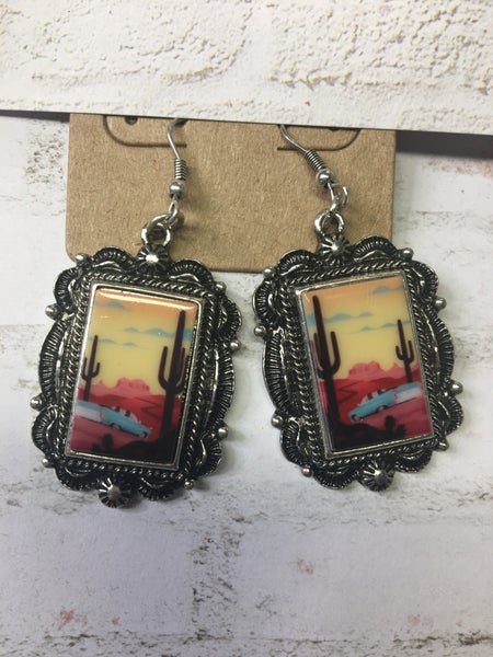 Western Rectangle Portrait Earrings - Desert Car