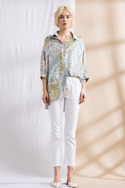 Lena - Printed Satin Oversized Shirt