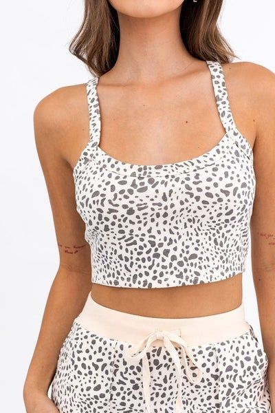 Le Lis - Printed French Terry Crop Top