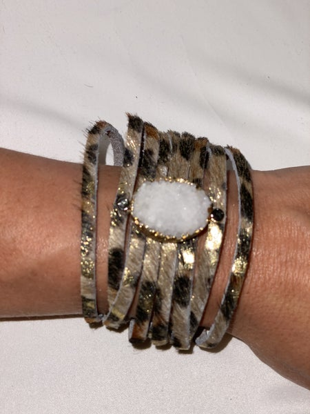 Leather Druzy Bracelet - 2 Colors