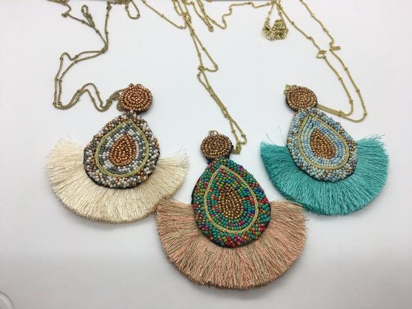 Beaded Fan Tassel Necklace - 3 Colors