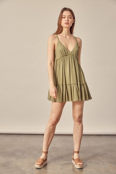 Mustard Seed - Lace Strap Flowy Dress Romper - 2 Colors