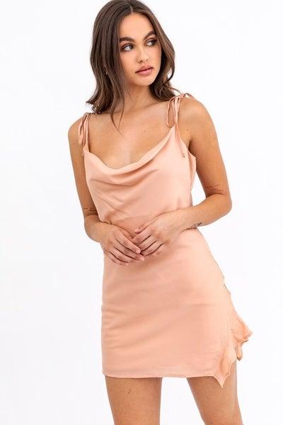 Le Lis - Cowl Neck Side Ruffle Dress
