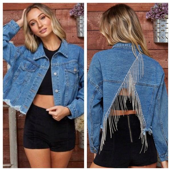Oversize Open Back Crystal Detail Denim Jacket *Final Sale*