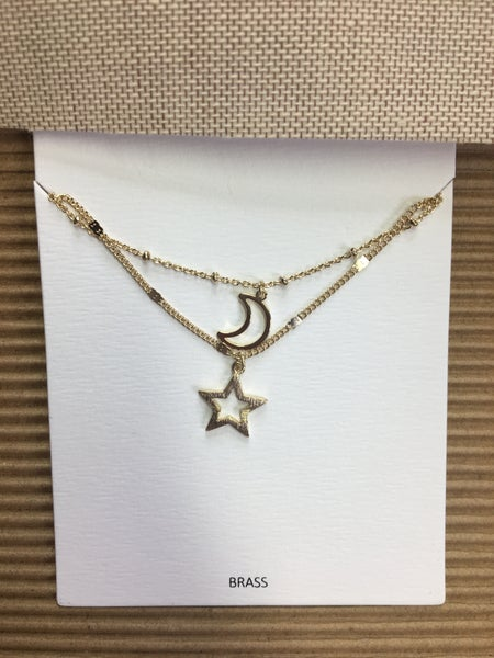 Open Star Moon Necklace