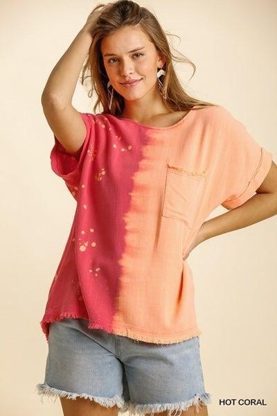 Umgee - Curvy Linen Blend Dip Dye Shirt - 2 Colors