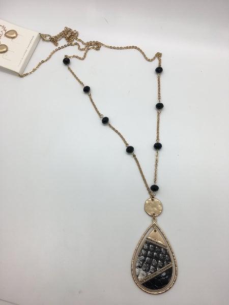 Snake Tear Drop Pendant Necklace