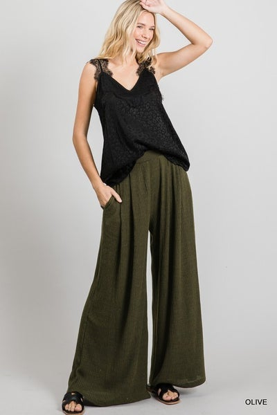 Jodifl - Solid Ribbed Pleated Palazzo Pants with Pockets
