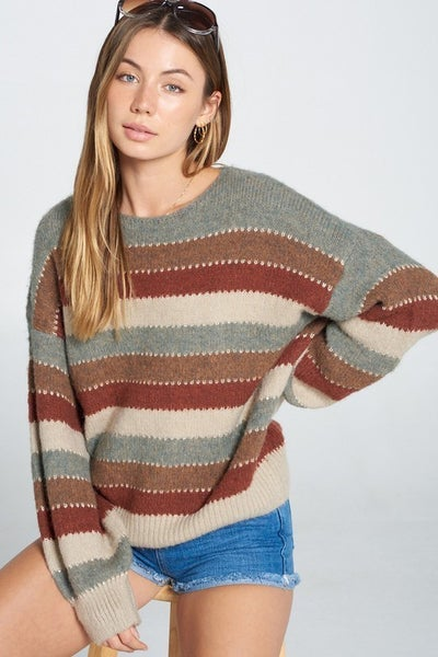 Davi & Dani - Grey Multi Sweater