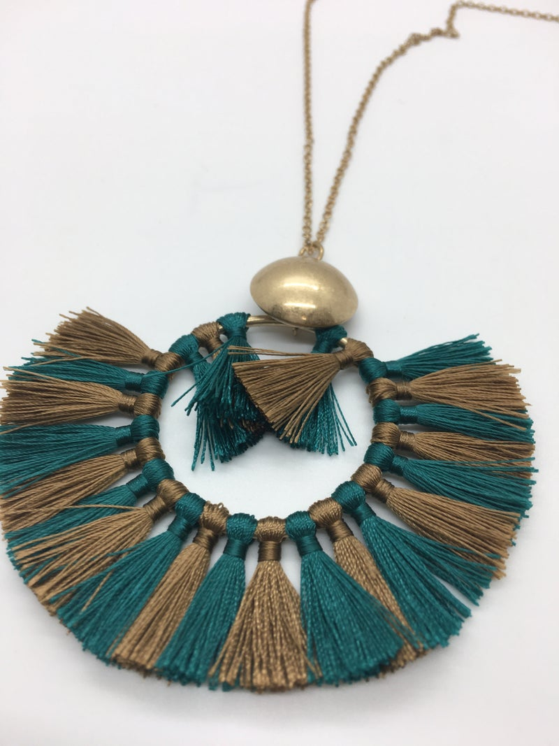 Two Tone Circle Tassel Necklace