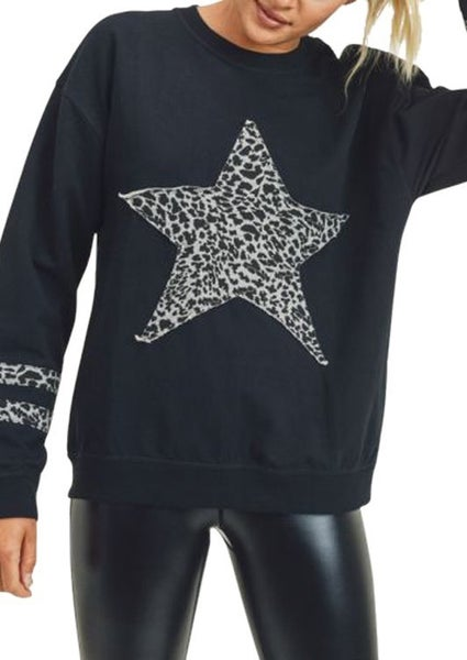 Mono B - Cheetah Star & Stripe French Terry Knit Top