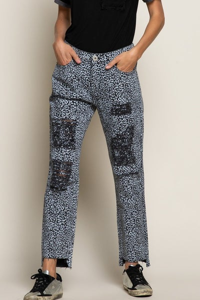 POL - Relaxed Fit Distressed Leopard Pant