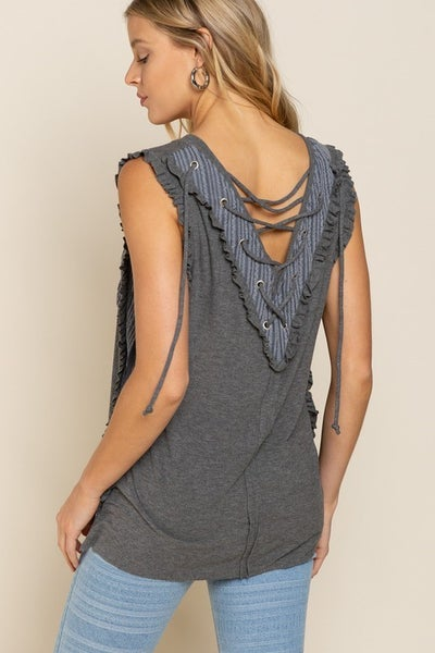 POL - Feminine 2 Tone Knit Top
