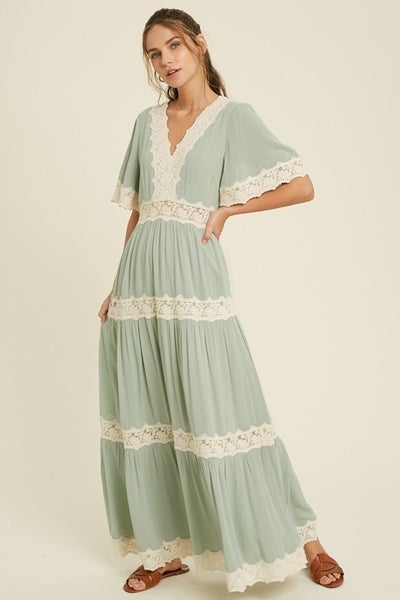 American Fit - Bell Sleeve Maxi Dress