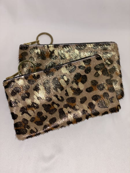 Leather Gold Foil Leopard Coin Purse